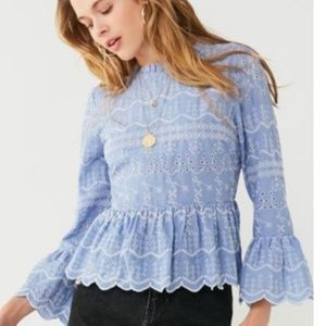 Baby Blue Embroidered Top